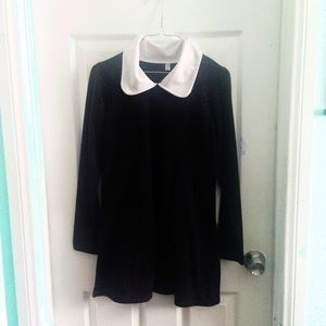 Wednesday Adams Peter Pan collar black/white dress